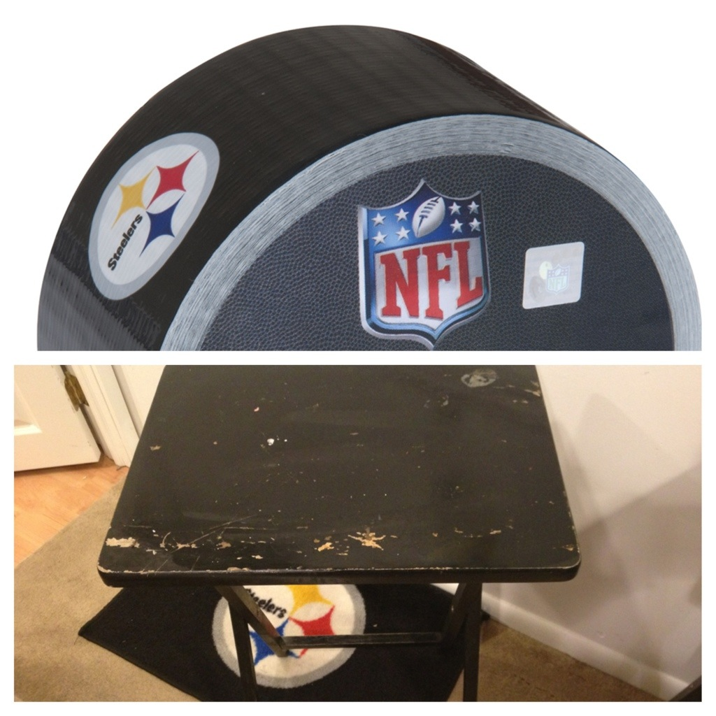 Easy Tool Free Nfl Duct Tape Dinner Tray Makeover